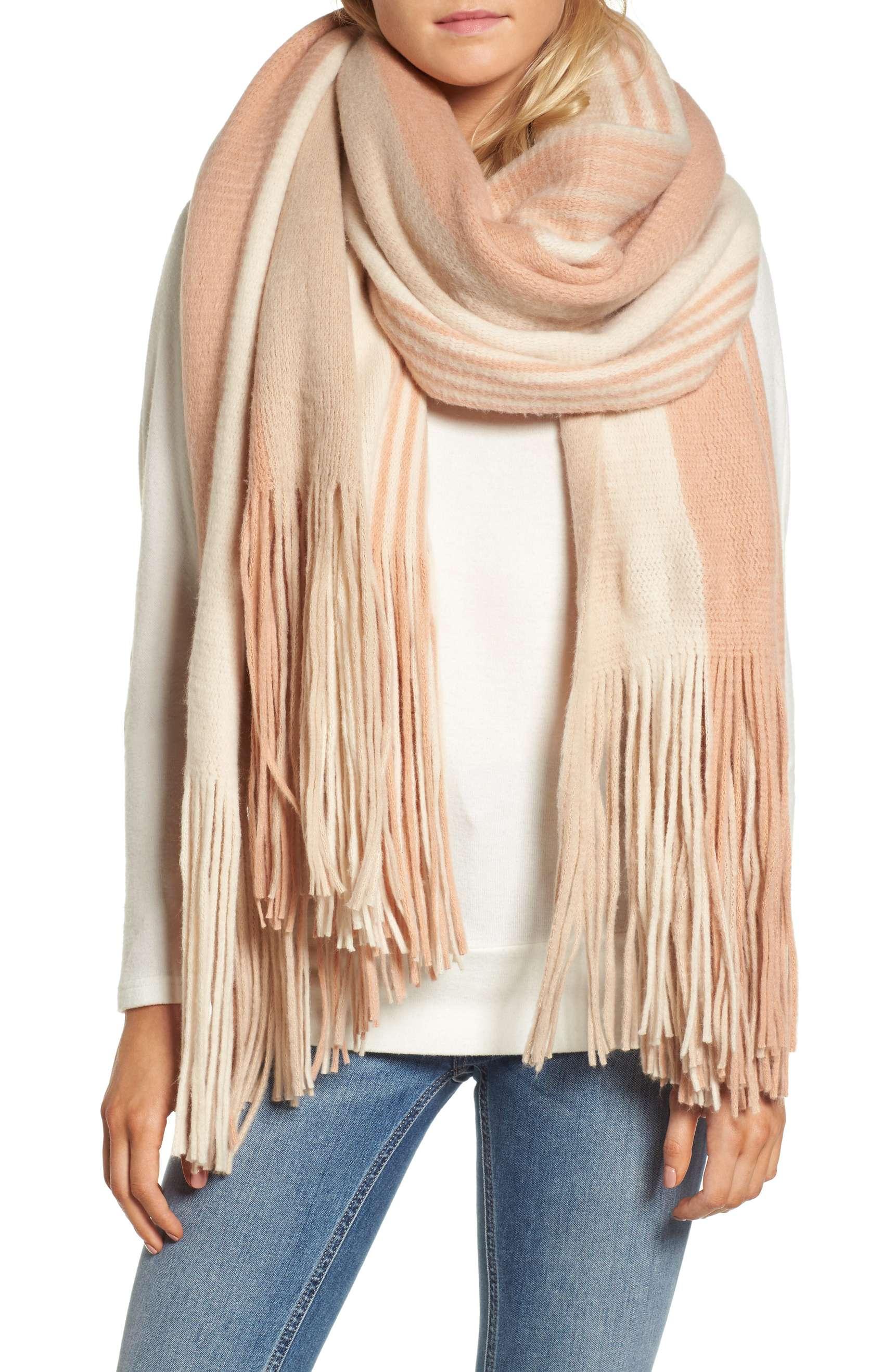 free people kolby stripe fringe scarf