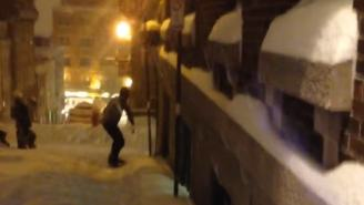 Snowboarding Through The Streets Of Quebec Sounds Like An Utter Delight Until You Get DEMOLISHED By A Car (VIDEO)
