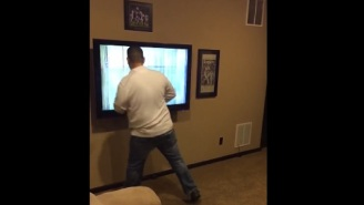 Pissed Of Alabama Fan Punches His Flat Screen TV And Breaks It After Watching Clemson Score Game-Winning TD