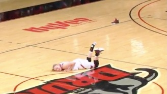 Women's College Basketball Player Completely Forgets How To Use Her Legs In Endlessly Watchable Clip