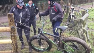 Here's Three British Men Trying To Remove A Bicycle Stuck In An Electric Fence And Now I'm Dying With Laughter