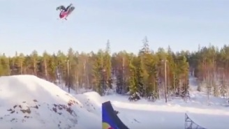 Bro Lands The World's First Double Backflip On A Snowmobile, The Holy Grail Of Snowmobiling Tricks