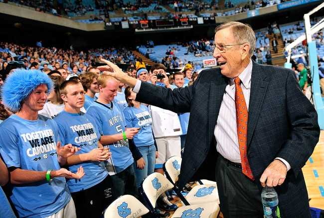 CHAPEL HILL, NC - NOVEMBER 30:  ESPN announcer Brent Musberger greets the fans before a game between the North Carolina Tar Heels and the Wisconsin Badgers at the Dean Smith Center on November 30, 2011 in Chapel Hill, North Carolina. North Carolina won 60-57.  (Photo by Grant Halverson/Getty Images)