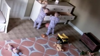 Camera Captures Moment 2-Year-Old Goes Beast Mode To Save His Twin Brother When Dresser Falls On Him
