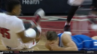 Grayson Allen Gets Smacked In The Face By Louisville's Donovan Mitchell During Game