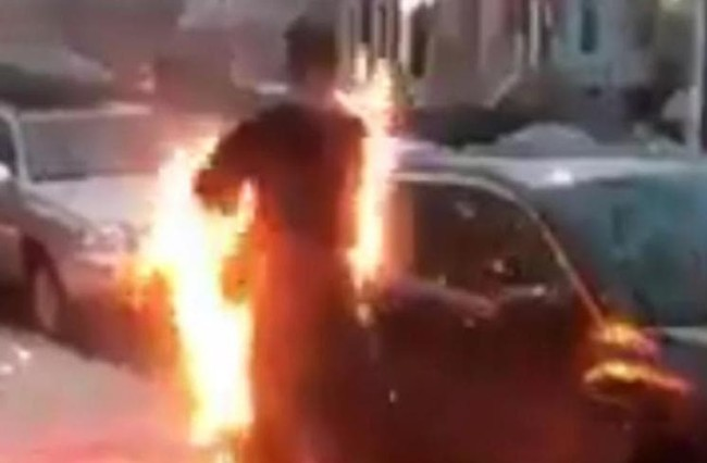 man smoking crack sets himself on fire