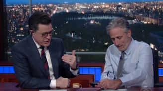 Jon Stewart Made A Surprise Appearance On 'Colbert' With A Message For The Media: 'Get Your Groove Back'