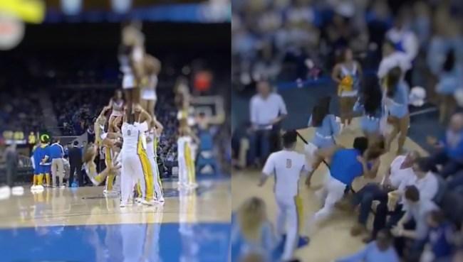 UCLA cheerleader falls twice