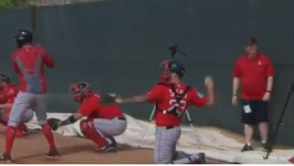 Red Sox Catcher Blake Swihart Has A Bad Case Of The Yips And Is Unable To Make Basic Throw Back To Pitcher