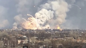 Ammo Depot Explodes In Ukraine And There Are ROCKETS Flying Around