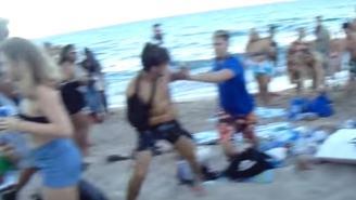 Applaud The Effort By Man With Arm In Sling Fighting During Spring Break Brawl