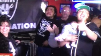 Raiders Fan Celebrates Team Moving To Vegas In The Most Raiders Way Possible: At The Bar With A Baby At 11 AM On A Monday Morning