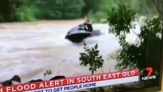 *Wait For It* Australians Embrace Flash Flood By JetSki Surfing On Raging River