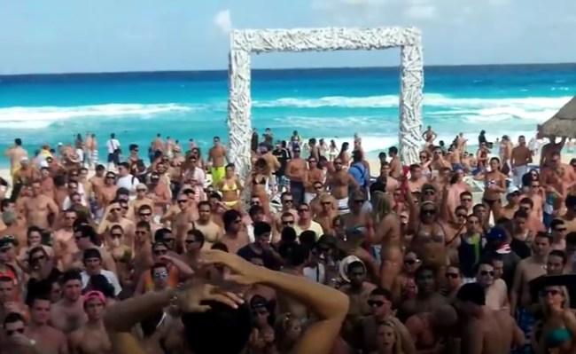 beach party spring break cancun