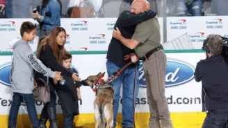 Dallas Stars Present A US Army Green Beret With A K9 Service Dog In The Best Way Possible