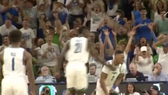 FGCU Player Throws Earth Shattering Slam Dunk That Shuts Down The Shot Clock And Stops The Game