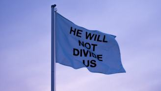 Shia LaBeouf Moved 'He Will Not Divide Us' Flag Overseas And It's Already Down
