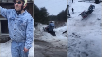 Snowmobile Expert And Sex God Larry Enticer Nearly Pops A Ball On This AMAZING Failed Jump