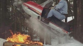 Dude Wearing All-Denim 'Canadian Tuxedo' And Jumping His '79 Yamaha Snowmobile DEFINITELY Gets Laid