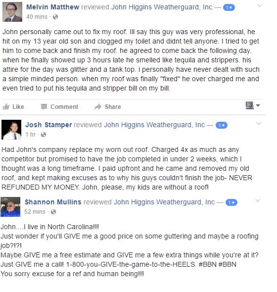 Salty Kentucky Fans Are Leaving Negative Reviews On Facebook Page Of Referee S Roofing Company Brobible