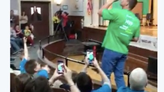 Rob Gronkowski Chugs A Bottle Of Water While Middle Schoolers Chant 'CHUG IT! CHUG IT!' In Heartfelt Video