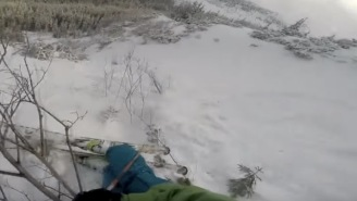 Skier Slides Off Trail And Is INCHES From Getting Destroyed By An Avalanche