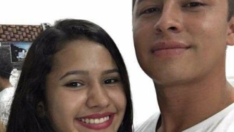 What's Going On In The Background Of This Couple's Selfie Is Totally Freaking The Internet Out