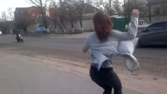 Girl Twerking On Side Of The Road Causes Head-On Collision Between Car And Motorcyclist