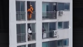 Hero Firefighter Rescues Suicidal Girl From Jumping Off A Balcony With A Double-Legged Kick