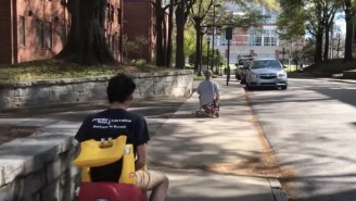 Engineering Bros Attach Chainsaw Engine To Kid's Tricycle, Take It Around Campus
