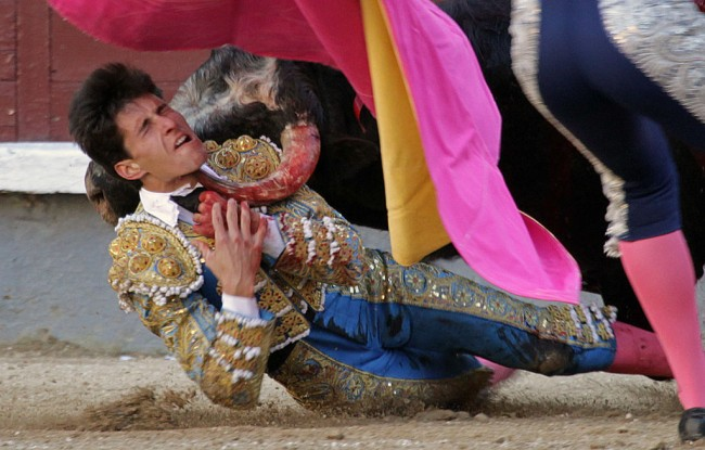 MADRID, SPAIN - APRIL 02: Bullfighter Daniel Garcia Navarrete is gored by a bull at Las Ventas bullring at Las Ventas Bullring on April 2, 2017 in Madrid, Spain. (Photo by Europa Press/Europa Press via Getty Images)