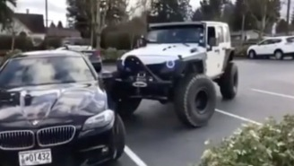 Dude In BMW Gets A Heavy Dose Of Street Justice After Parking Like A Complete Asshole