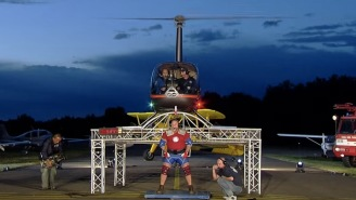 Strongman Attempts To Lift A Helicopter On His Shoulders, Because Why Hell Not?