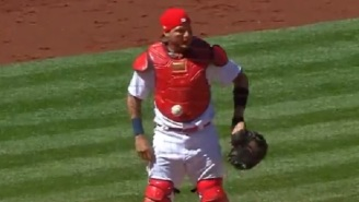 Ball Gets Mysteriously Stuck On Yadier Molina's Chest Protector During Cardinals-Cubs Game