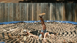 Dude Jumps Onto A Trampoline With 1,000 Mousetraps And Films The Madness In Slow-Mo HD