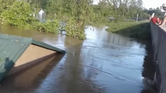 It's A Bird, It's A Plane, Nope! It's A House Floating Down The River And Smashing Into A Bridge