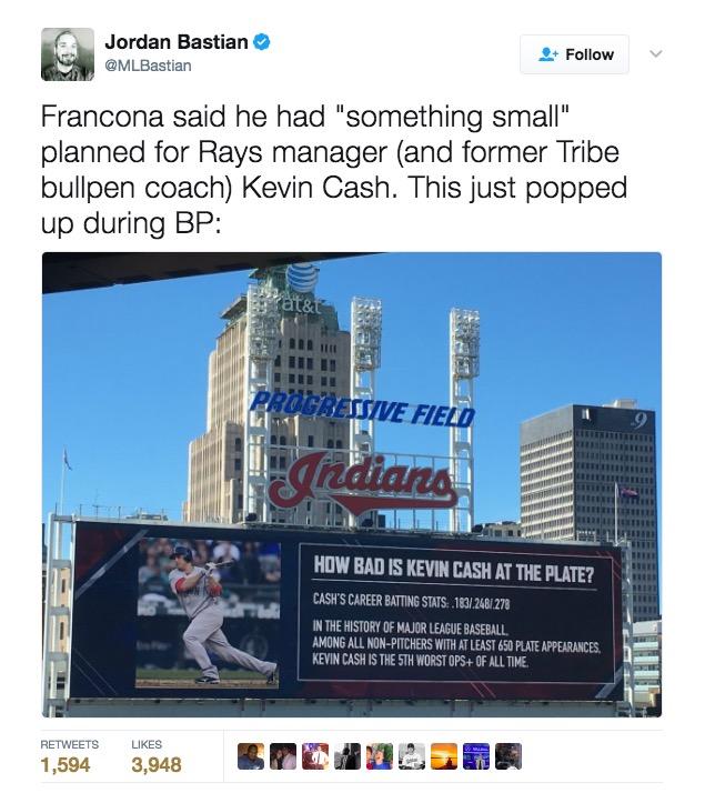 Cleveland Indians troll Kevin Cash
