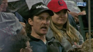 Matthew McConaughey Signs Autographs At Indians Game, Wears 'Alright' Hat