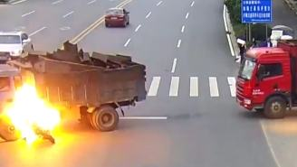 How Did This Motorcyclist Survive This Truck Crash And Explosion?