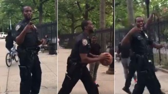 NYPD Cop Nails Long Distance Shot From Steph Curry Range