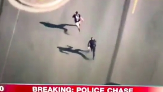 The Internet Is Loving This Police Chase Where The Suspect Crosses A Cop In Pursuit