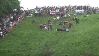 The 2017 Gloucester Cheese Roll Was A Total Mess Of Flailing Bodies And Flying Cheese Wheels