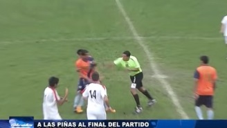 Brutal Soccer Fight Gets Out Of Hand When Player Attacks Ref And Referee Responds With Haymaker