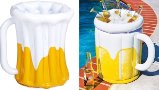 Keep The Beers Cold By The Pool In This Awesome Inflatable Beer Mug Cooler