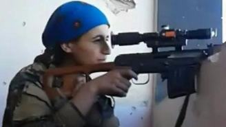 The Moment Fearless Kurdish Sniper Laughs Off ISIS Bullet Whizzing Inches From Her Head