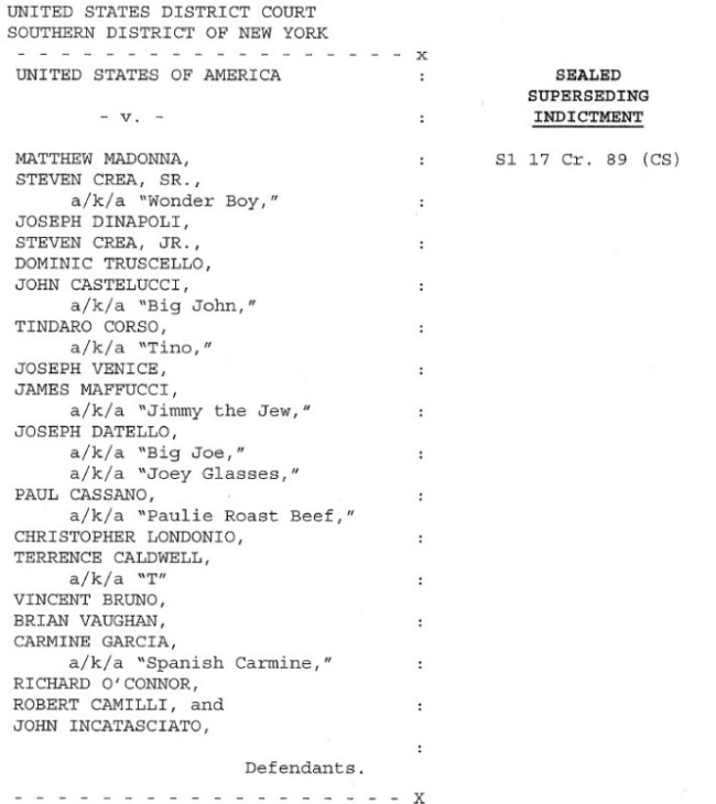 Lucchese Crime Family Mafia Nicknames Arrest Report