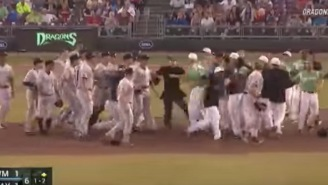 Benches Clear For Minor League Baseball Brawl And One Player Hurls Ball At Top Speed Into The Fight