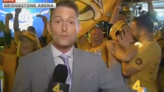 Predators Fans Videobombed A Live TV Segment With An Aggressive Make Out Sesh