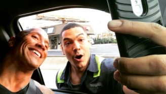 A Fan Caused A Traffic Jam So He Could Pose For A Selfie With Dwayne 'The Rock' Johnson