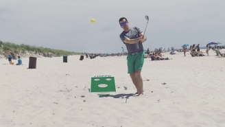 GOLF + CORNHOLE = The Best Summer Day Drinking Game Of All Time (…Now With A Free Koozie!!!)